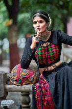 Load image into Gallery viewer, Bootylicious Black Soft Cotton Resham Ari Embroidered & Real Mirror Work With Lehenga Choli
