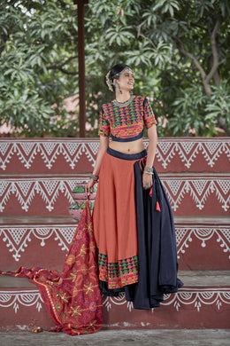 Wrinkle Navy Blue Soft Cotton Resham Embroidered & Real Mirror Work With Lehenga Choli