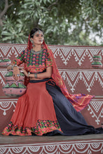Load image into Gallery viewer, Wrinkle Navy Blue Soft Cotton Resham Embroidered & Real Mirror Work With Lehenga Choli