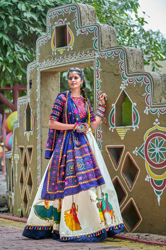 Navy & Off White Soft Cotton Resham Embroidered & Real Mirror Work With Lehenga Choli