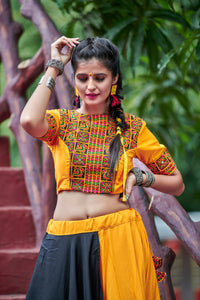 Latest Thing Yellow Soft Cotton Resham Embroidered & Real Mirror Work With Cultus Lehenga Choli