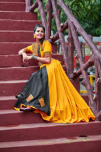 Load image into Gallery viewer, Latest Thing Yellow Soft Cotton Resham Embroidered & Real Mirror Work With Cultus Lehenga Choli