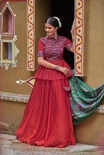 Load image into Gallery viewer, Bandwagon Maroon Silk Resham Embroidered & Real Mirror Work With Model Lehenga Choli