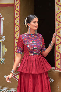Bandwagon Maroon Silk Resham Embroidered & Real Mirror Work With Model Lehenga Choli