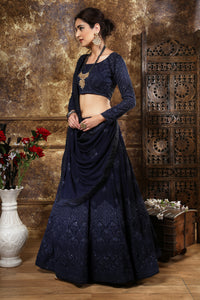 Gladdened Navy Blue Georgette Thread & Sequence Embroidered Work With Groovy Lahenga Choli