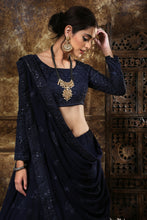 Load image into Gallery viewer, Gladdened Navy Blue Georgette Thread & Sequence Embroidered Work With Groovy Lahenga Choli