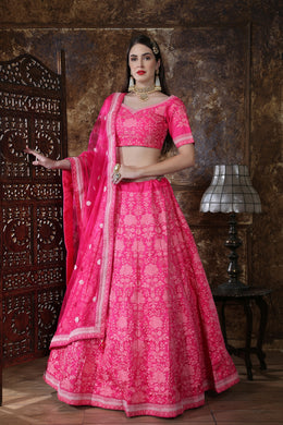 Astonishing Pink Silk Thread & Sequence Embroidered Work With Startling Lahenga Choli