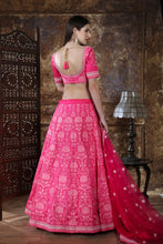 Load image into Gallery viewer, Astonishing Pink Silk Thread & Sequence Embroidered Work With Startling Lahenga Choli