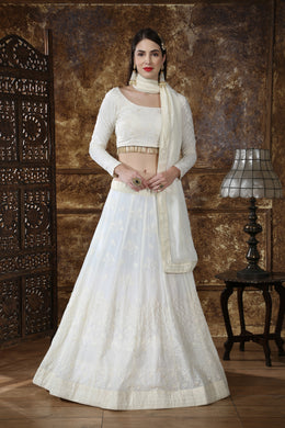 Off White Georgette Thread & Sequence Embroidered Work With Baroque Lahenga Choli