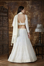 Load image into Gallery viewer, Off White Georgette Thread & Sequence Embroidered Work With Baroque Lahenga Choli