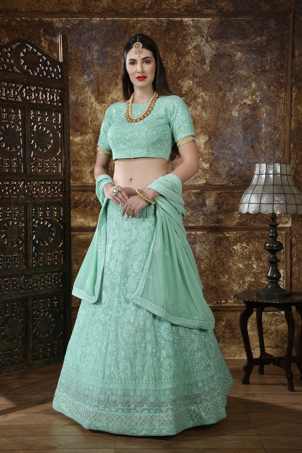 Remarkable Mint Green Georgette Thread & Sequence Embroidered Work With Noticeable Lahenga Choli