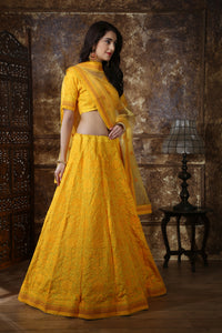 Sweet Hunny Yellow Silk Thread & Sequence Embroidered Work With Gorgeous Lahenga Choli