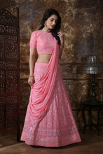 Load image into Gallery viewer, Gangbusters Dusty Pink Georgette Thread & Sequence Embroidered Work With Cracking Lahenga Choli