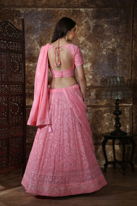 Gangbusters Dusty Pink Georgette Thread & Sequence Embroidered Work With Cracking Lahenga Choli