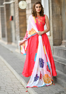 Jubilantly Lovable Pink Faux Georgette Heavy Hand Work & Colorful Flower Work With Long Anarkali Suit