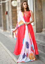 Load image into Gallery viewer, Jubilantly Lovable Pink Faux Georgette Heavy Hand Work & Colorful Flower Work With Long Anarkali Suit