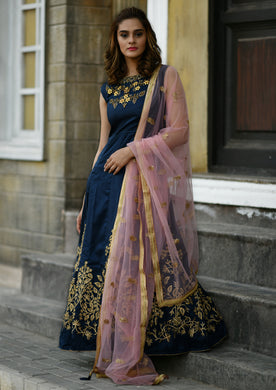 Current Styles Navy Blue Silky Silk Heavy Embroidered & Hand Work With Pretty Long Anarkali Suit