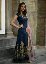 Load image into Gallery viewer, Current Styles Navy Blue Silky Silk Heavy Embroidered & Hand Work With Pretty Long Anarkali Suit