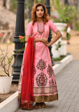 Irreplaceable Pink Faux Georgette Embroidered Round Gotta Patti Work With Long Anarkali Suit