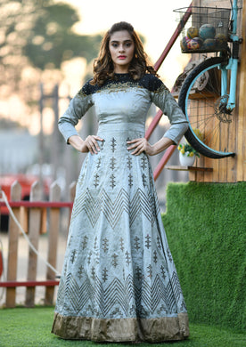 Artful Grey Thai Silk Heavy Hand Woven Print & Hand Work With Bridal Wear Long Anarkali Suit