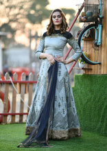 Load image into Gallery viewer, Artful Grey Thai Silk Heavy Hand Woven Print & Hand Work With Bridal Wear Long Anarkali Suit