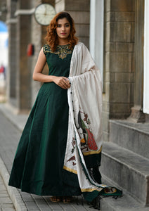 Glorious Divine Pine Green Silky Silk Hand Work & Digital Printed With Snazzy Long Anarkali Suit