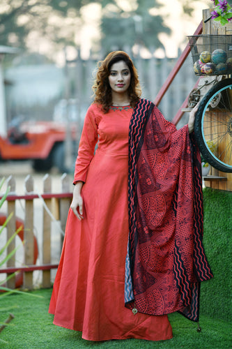 Luxurious Wenge Salmon Orange Silky Silk Hand Work & Solid Printed With Stylist Long Anarakli Suit