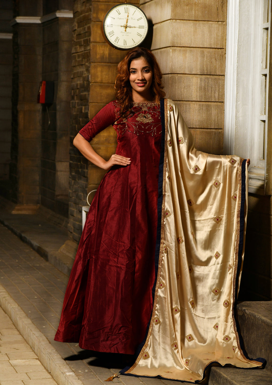 Aristocratic Maroon Silky Silk Heavy Embroidered & Hand Work With Desirable Long Anarakli Suit