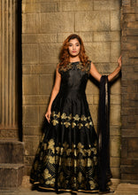 Load image into Gallery viewer, Culminating Black Silky Silk Heavy Embroidered & Hand Work With Cheerful Long Anarakli Suit