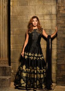Culminating Black Silky Silk Heavy Embroidered & Hand Work With Cheerful Long Anarakli Suit
