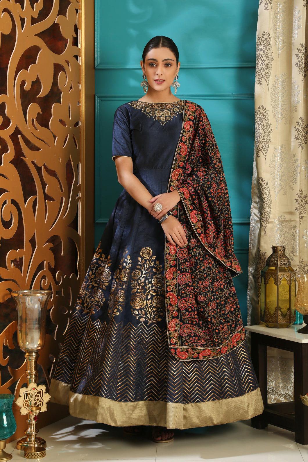 Moderately Navy Blue Silk Metalic Foil & Cutdana Hand Work With Divine Fairly Long Gown
