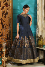 Load image into Gallery viewer, Moderately Navy Blue Silk Metalic Foil & Cutdana Hand Work With Divine Fairly Long Gown