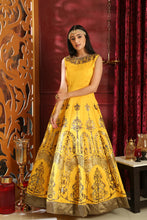 Load image into Gallery viewer, Together Lovely Yellow Silk Metalic Foil & Cutdana Zardosi Hand Work With Angelic Fairly Long Gown