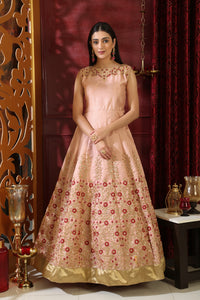 Symmetrical Peach Silk Sequence & Cutdana Resham Hand Work With Great Fairly Long Gown