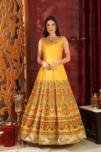 Love Relatively Yellow Silk Sequence & Cutdana Zardosi Hand Work With Sweetest Fairly Long Gown