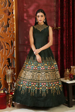 Load image into Gallery viewer, Eye-opening Dark Green Silk Sequence & Cutdana Zardosi Hand Work With Cut Fairly Long Gown