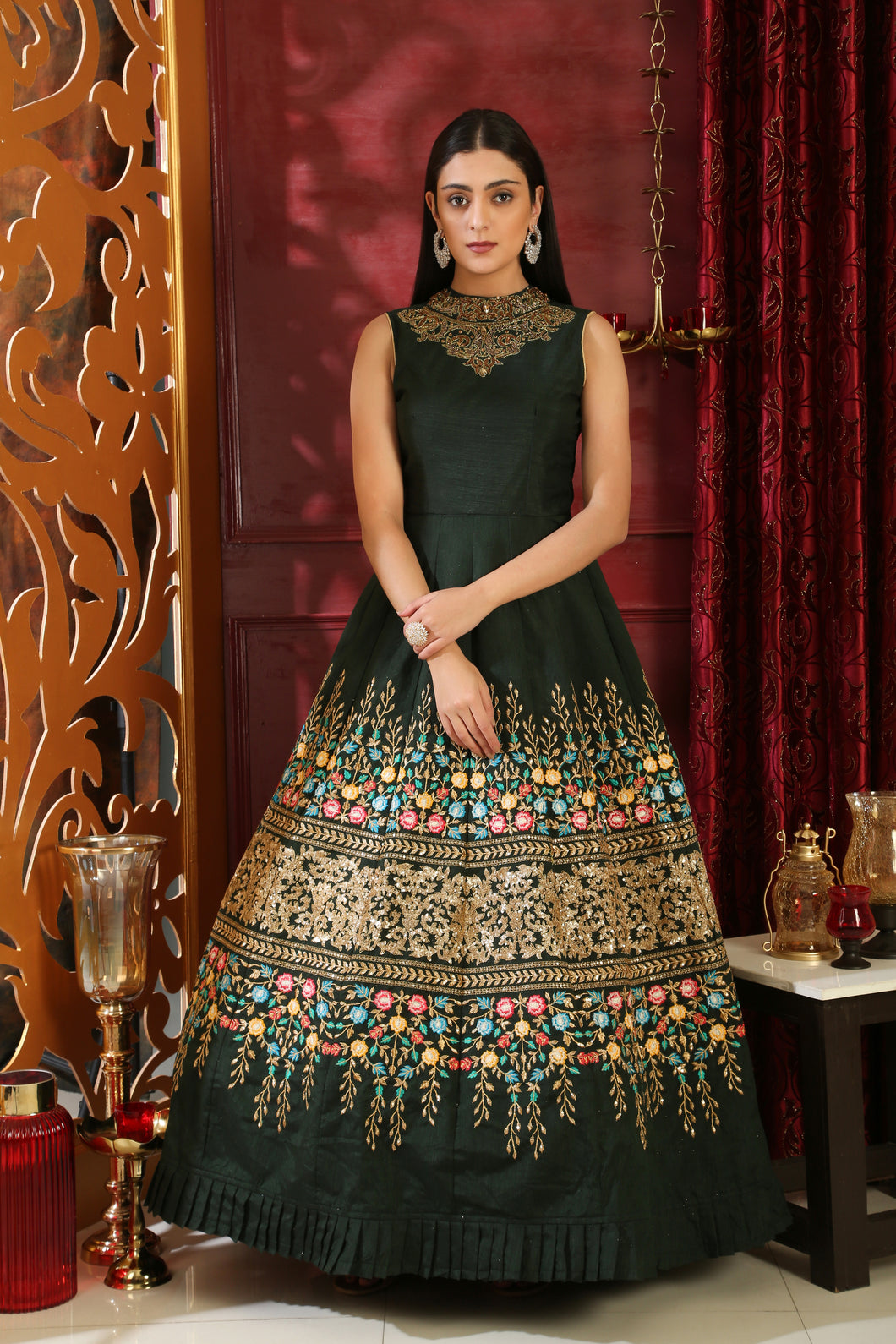Eye-opening Dark Green Silk Sequence & Cutdana Zardosi Hand Work With Cut Fairly Long Gown