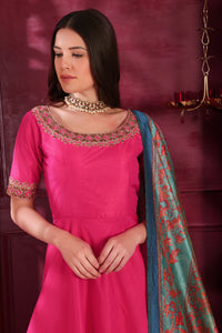 Adequately Dark Pink Silk Cutdana & Zardosi Hand Work With Pleasing Fairly Long Gown