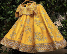 Load image into Gallery viewer, Sweet Heart Mustard Yellow Raw Silk Zardosi & Zari Hand Work With Honest Lehenga Choli