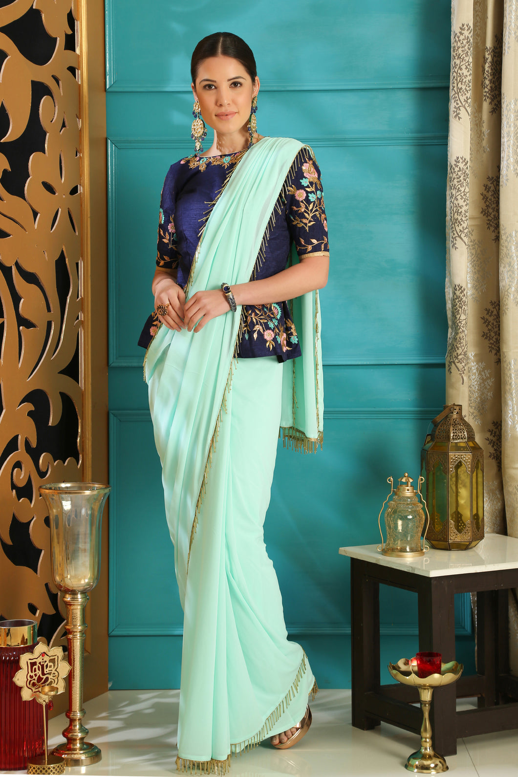 Turquoise Blue Pure Georgette Crystal Tassels & Embroidered Sequence Work With Saree
