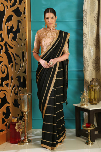 Feverous Black Silk Crystal Tassels & Embroidered Sequence Work With Reserved Saree