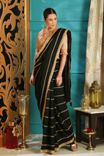 Load image into Gallery viewer, Feverous Black Silk Crystal Tassels & Embroidered Sequence Work With Reserved Saree