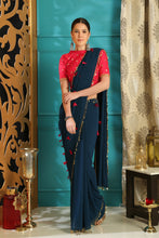Load image into Gallery viewer, Teal Blue Pure Georgette Crystal Tassels & Embroidered Sequence Work With  frenzied Saree