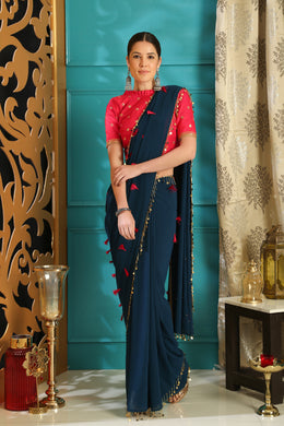 Teal Blue Pure Georgette Crystal Tassels & Embroidered Sequence Work With  frenzied Saree