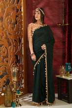 Load image into Gallery viewer, Vehement Dark Green Pure Georgette Pearl Metallic & Embroidered Sequence Work With Abstract Saree