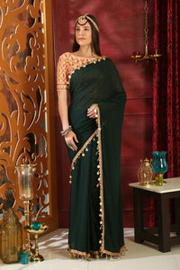 Vehement Dark Green Pure Georgette Pearl Metallic & Embroidered Sequence Work With Abstract Saree