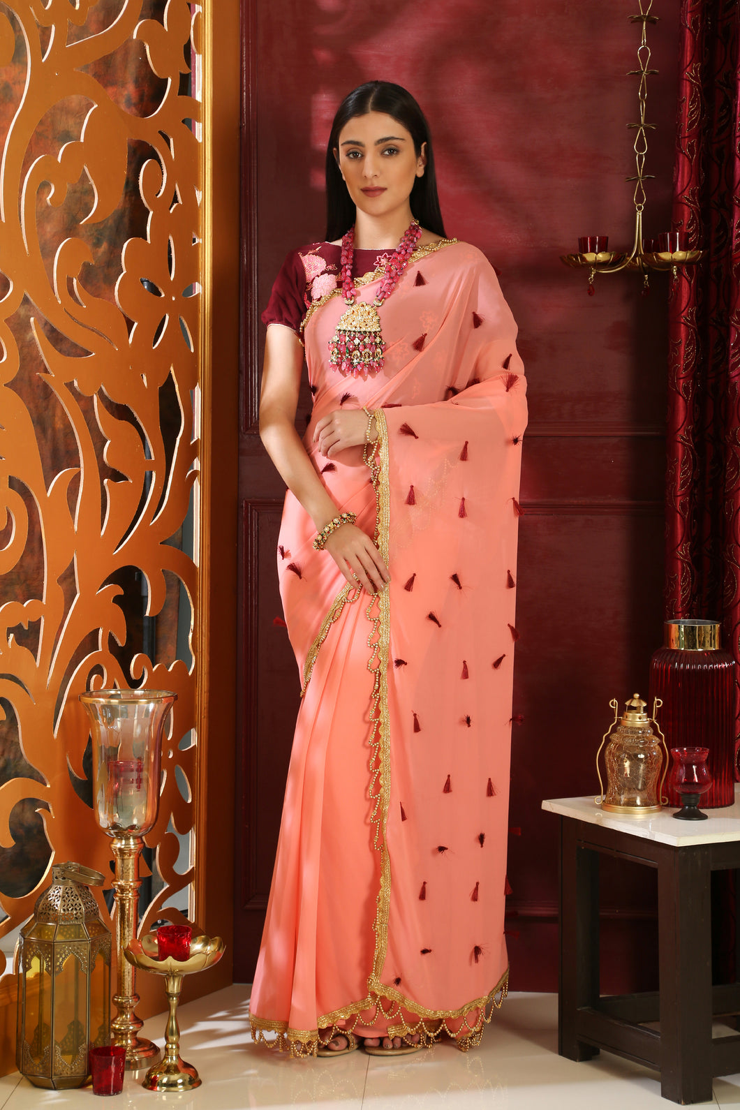 Sweltering Pink Pure Georgette Resham Tassels & Embroidered Sequence Work With Utopian Saree
