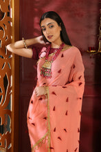 Load image into Gallery viewer, Sweltering Pink Pure Georgette Resham Tassels & Embroidered Sequence Work With Utopian Saree