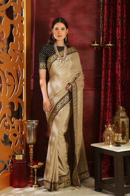 Representative Beige Silk Sequence Lace & Embroidered Work With Spiritual Saree Collection