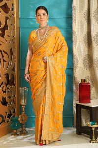 Favourite Look Yellow Silk Full Embroidered Hand Woven & Stone Work With Lovable Saree